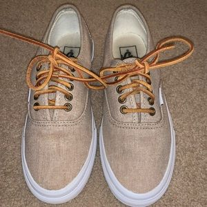 Canvas vans with leather laces